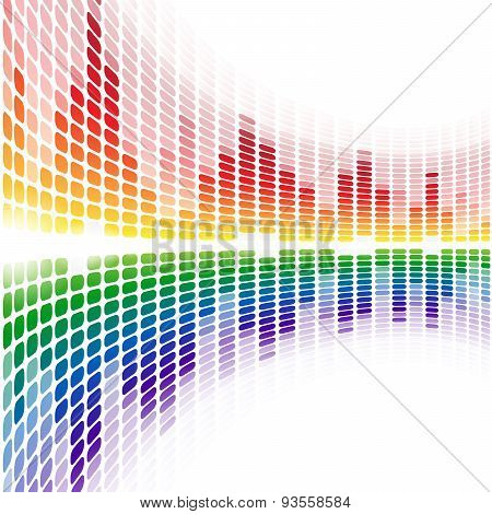 Rainbow warped digital equalizer on white background