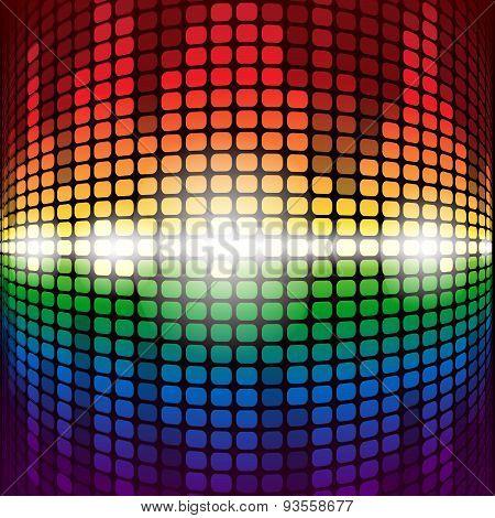 Shining rainbow digital equalizer with flares on black backgroun