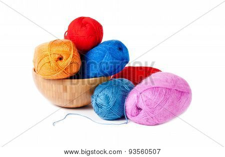 Knitting Yarn In Bowl, Isolated On White