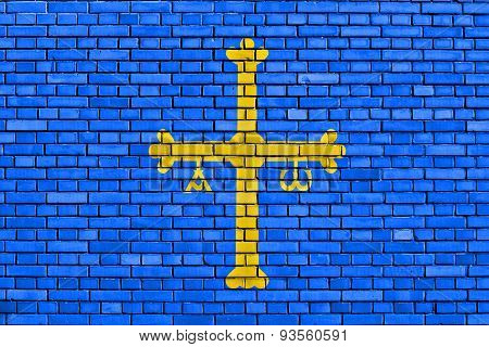 Flag Of Asturias Painted On Brick Wall