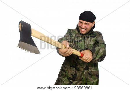 Young man in soldier uniform holding axe isolated on white