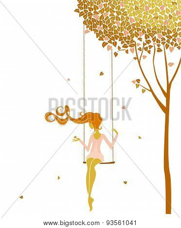 Lonely girl on a swing