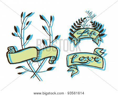 Grunge tattoo ribbons