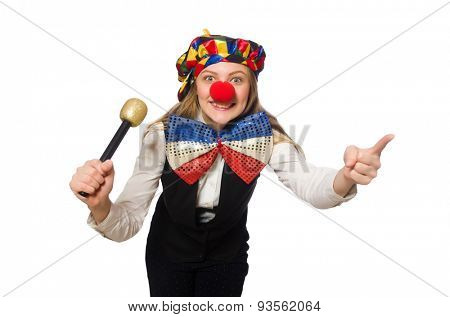 Pretty female clown with maracas isolated on white