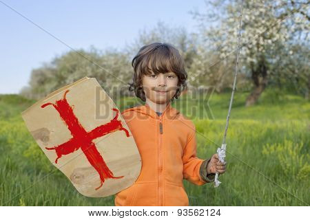 boy playing in the medieval knight