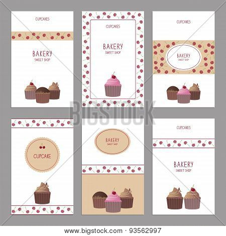 Set Of Beautiful Vector Cards Templates. Cute Cards With Cupcakes.