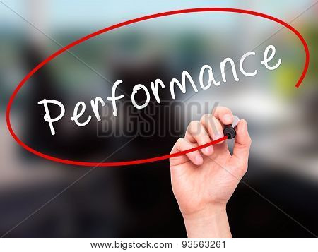 Man Hand writing Performance with black marker on visual screen.