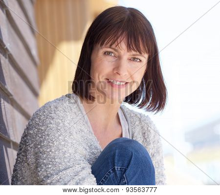 Mature Woman Smiling Outdoors