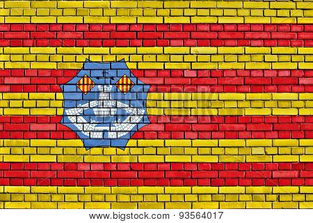 Flag Of Minorca Painted On Brick Wall