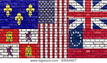 Flag Of Pensacola Painted On Brick Wall