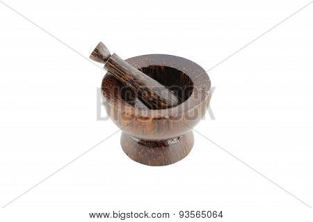 Wooden Mortar And Pestle On White Background.
