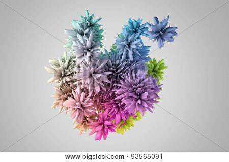 Abstract 3D Shape In Many Colors That Resembles The Flower