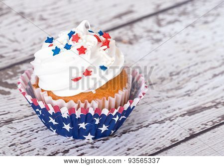 Cupcake With Patriotic Sprinkles