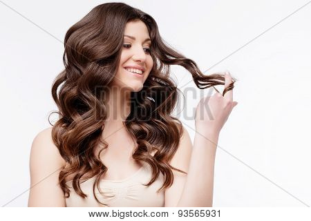 Beautiful Woman with curly brown hair