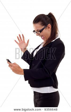 Woman Shouting To A Phone