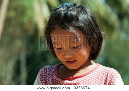 Portrait Of Indian Girl On The Street In Bangalore