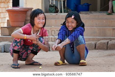 Two Indian Girls On The Street In Bangalore