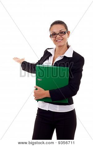 Woman With Folder Presenting