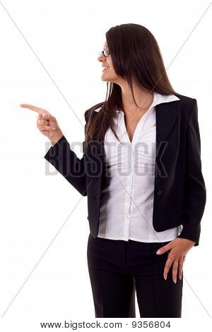 Woman Pointing To Her Side