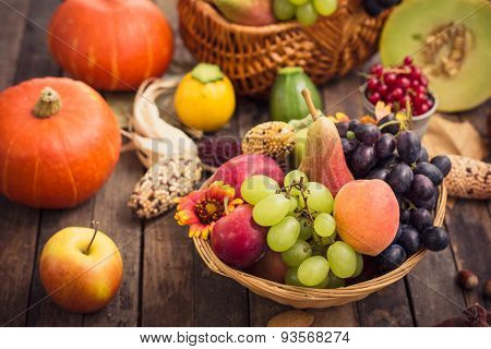 Autumn fruits on the table