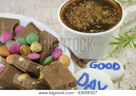 Chocolate Coffee With Bonbons And A