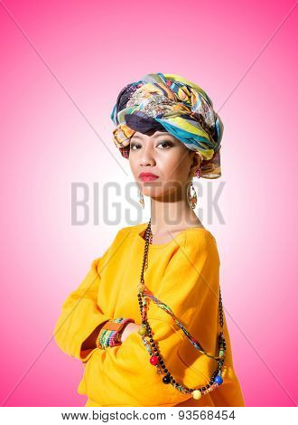 Afro-american woman against the gradient