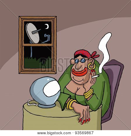 Cartoon about a fortune teller
