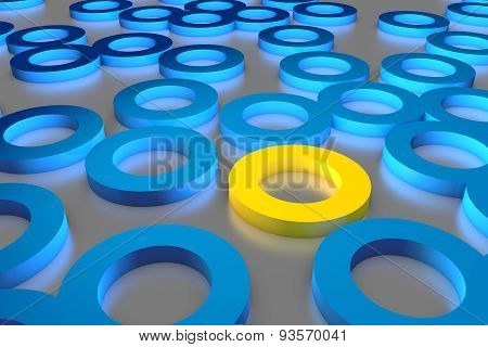Many Blue Cylinder Discs Among Which The Yellow One Stands Out. 3D Render Image.