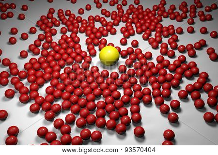 Many Red Balls Among Which The Yellow One Stands Out. 3D Render Image.