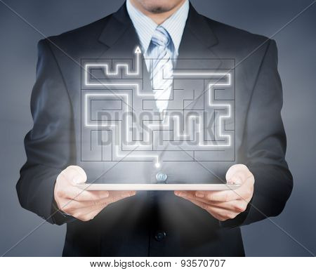 Businessman Using Tablet Showing Maze, Business Decision Concept