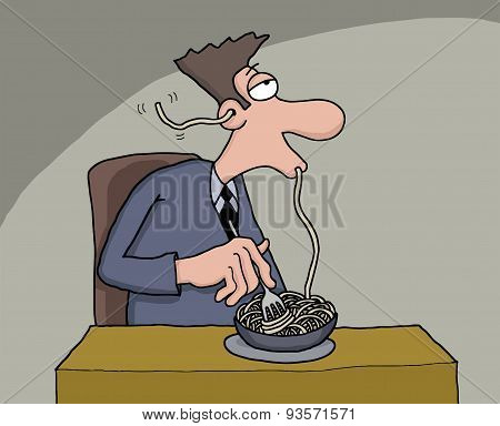 Funny cartoon of a man eating spaghetti