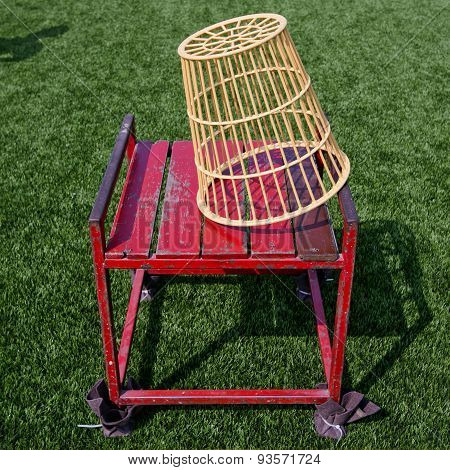 Pair Of Chairball Basket And Chair With Lawn Yard
