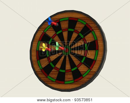 Board Games Darts With Three Darts Of Different Colors