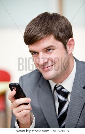 Portrait Of An Assertive Businessman Sending A Text Message With His Cellphone In His Office