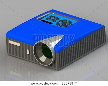 Multimedia Projector With A Blue And Gray Plastic With A Big Lens Isolated