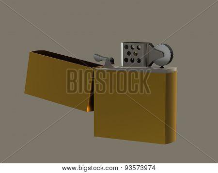 Petrol Lighter Gold Open Lid