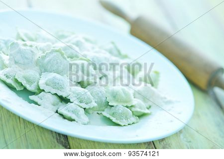 Flour And Raw Ravioli