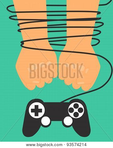 Game dependence concept. Hands tied by wire game controller. Vector illustration