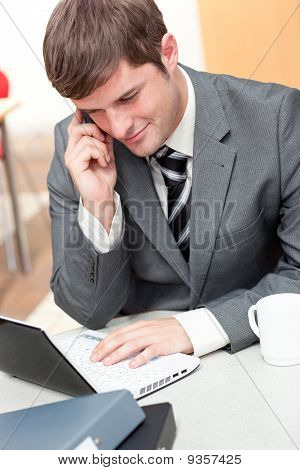 Assertive Businessman Talking On Phone And Using His Laptop