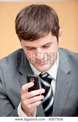Self-assured Businessman Writing A Text Message With His Mobile Phone