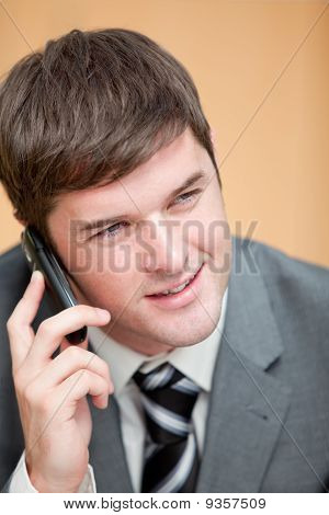 Charismatic Businessman Talking On Phone In His Office