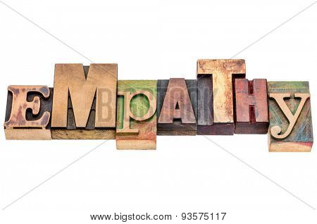 empathy word abstract - isolated text in vintage letterpress wood type blocks