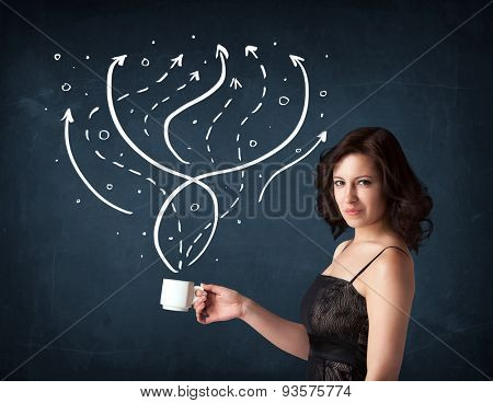 Businesswoman standing and holding a white cup with drawn lines and arrows coming out of the cup