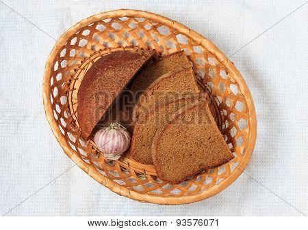 Fresh Rye Bread And Garlic