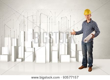 Construction worker planing with 3d buildings in background concept