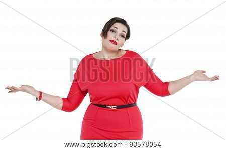 Beautiful Plus Size Woman In Red Dress Shrugs Her Shoulders