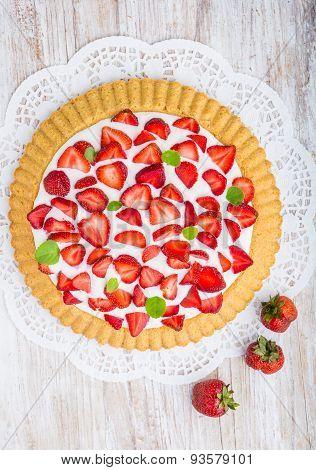 Tart With Strawberries And Panna Cotta