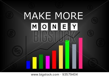 Make more money text with colorful char