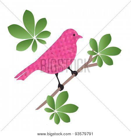 Pink Grunge bird sitting on a perch