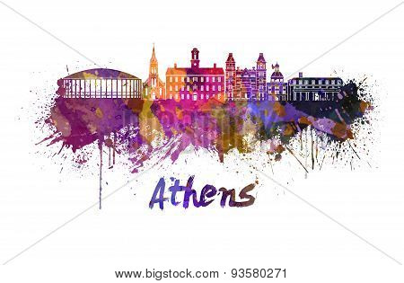 Athens Oh Skyline In Watercolor